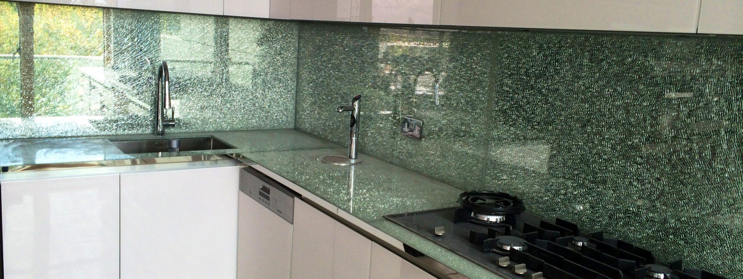 Crackle Glass Splashbacks and Worktop
