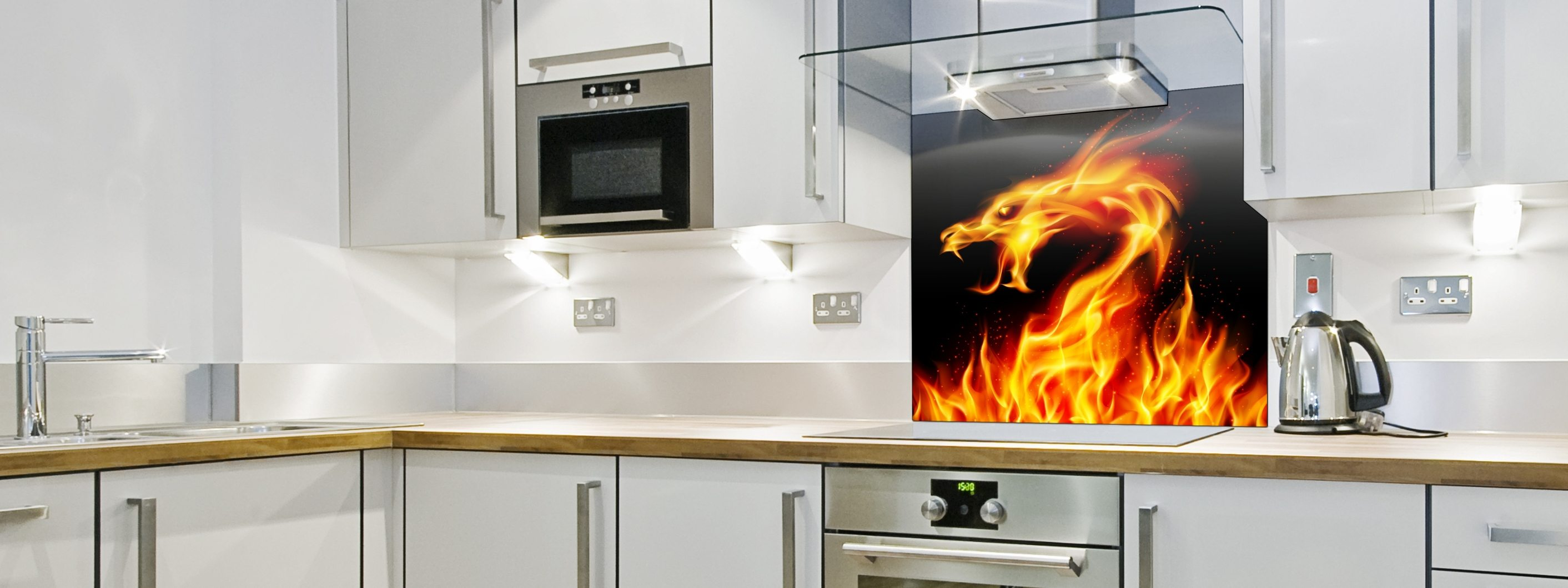 Fire Dragon - Printed Glass Splashback