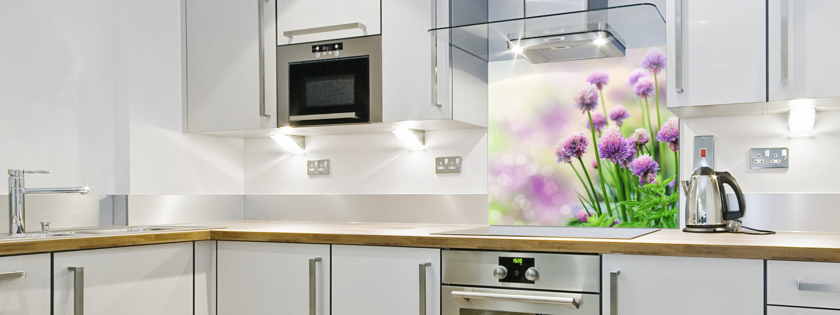 Purple Flowers - Printed Glass Splashback