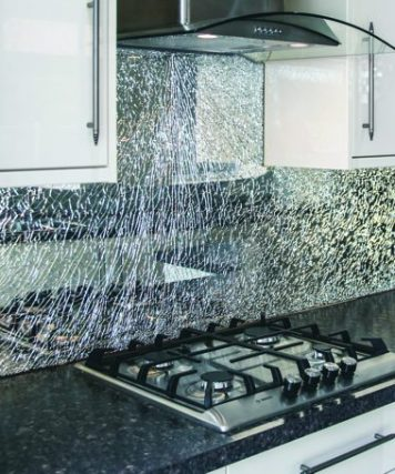Crackle Glass Splashback