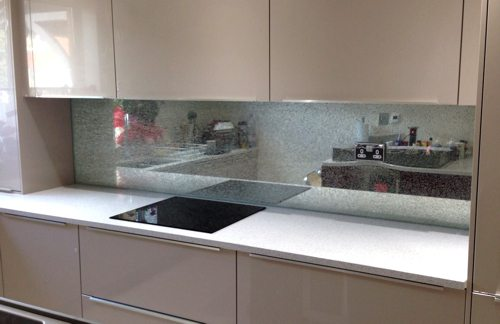 Crackle Glass Kitchen Splashback