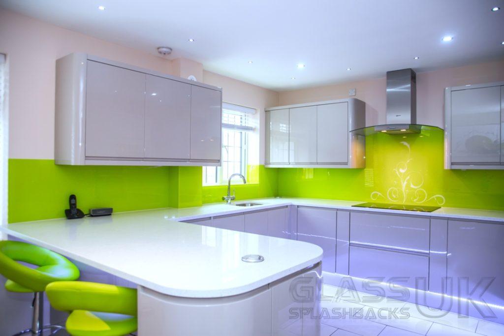 Lime Sparkle Stencil Glass Splashbacks