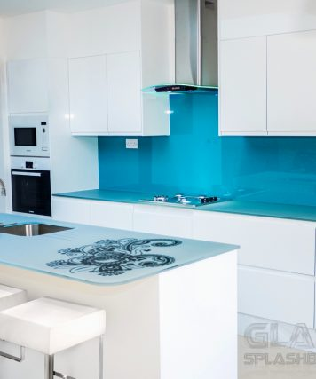 Sky Blue Splashbacks With Non Scratch Stenciled Worktop