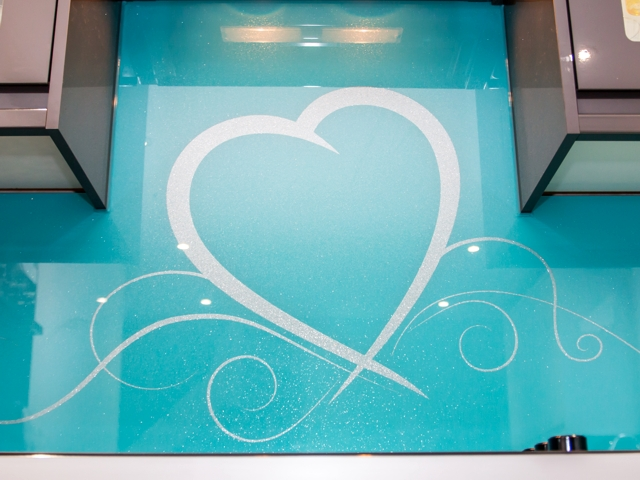 Blue Diamond + Silver Sparkle & Heart Stencil