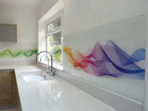 Printed Splashback - Rainbow Waves